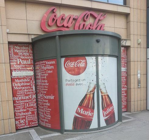 porte d'entrée, publicités coca cola